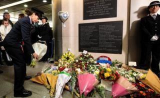 Flowers laid at King's Cross