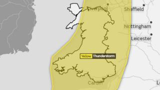 A picture of the Met Office map. Wales was covered by a yellow weather warning