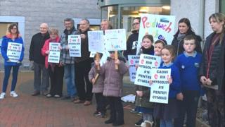 Protest against the closure of Ysgol Gymuned Bodffordd, Anglesey