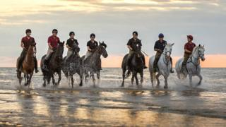 Household Cavalry Mounted Regiment on Holkham beach