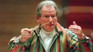 Sir Neville Marriner pictured during a rehearsal prior to a performance in the Philharmonie, in Cologne, Germany, January 2001.