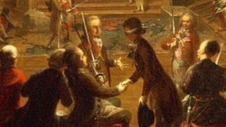 18世紀的藝術家翁特貝格爾所作,描繪了共濟會維也納分會玫瑰宮內一次秘密集會。