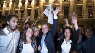 New Mayor Pierre Hurmic (centre), EELV, Europe Ecologie Les Verts, reacts after winning the second round of French municipal elections in Bordeaux, France, 28 June 2020.