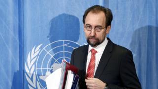 "(U.N.) Human Rights High Commissioner Zeid bin Ra""ad Al Hussein arrives for a media briefing in Geneva, Switzerland, February 1, 2016."