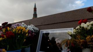 Мемориал памяти Бориса Немцова на Большом Каменном мосту в Москве