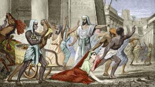 A morte de Hipatia de Alejandria, em uma ilustração em um livro do século 19