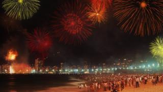 Queima de fogos em Copacabana