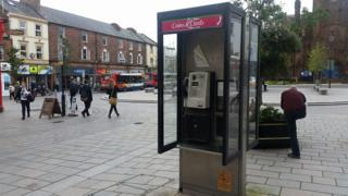 Phone booth in the High Street, Dumfries