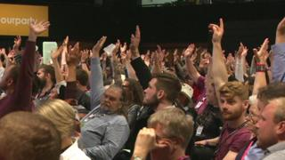 Labour delegates voting