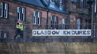 Police in Glasgow during lockdown