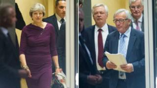 Theresa May, David Davis and Jean-Claude Juncker