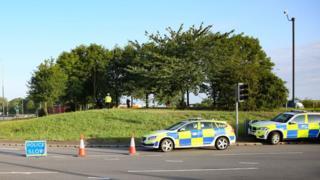 Crash scene in Peterborough