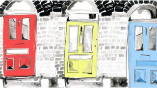 Illustration of front doors