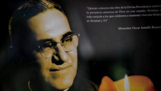 Picture of a banner with a portrait of Archbishop Oscar Arnulfo Romero taken at La Divina Providencia Chapel in San Salvador on March 21, 2011.