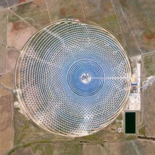 Aerial photo of Gemasolar Solar Concentrator in Seville, Spain