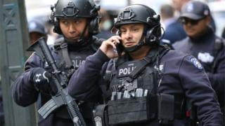 Heavily armed police in New York