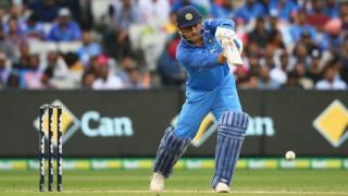 MS Dhoni of India bats during game three of the One Day International series between Australia and India at Melbourne Cricket Ground on January 18, 2019 in Melbourne, Australia
