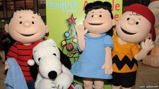 Linus van Pelt (left) and his friends from the Peanuts comic strip