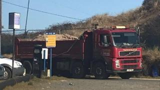 Lorry-load of sand arriving in Hemsby