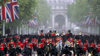 The Grenadier Guards outside Buckingham Palace