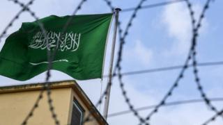 A Saudi flag flies near the Saudi Istanbul consulate