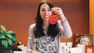 Jacinda Arden shows off her Christmas decoration in a video