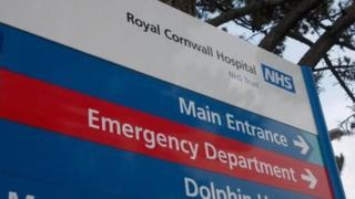 A Royal Cornwall Hospital sign