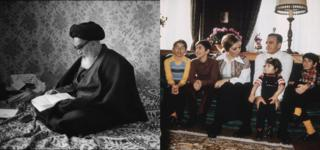 Ruhollah Khomeini (left) and the Iranian royal family (right)