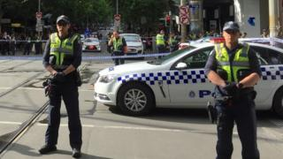 Police on Bourke Street, Melbourne