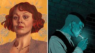 Peaky Blinders fan art by Nerf Alice (L) and Alex Coyle (R)