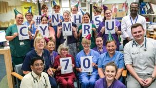 Staff in the paediatric wards at Royal Glamorgan Hospital celebrate the NHS turning 70