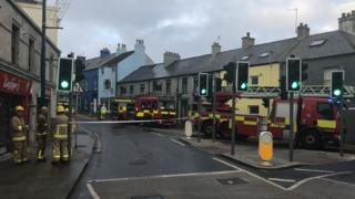Moat Street was closed as firefighters worked to extinguish the blaze.