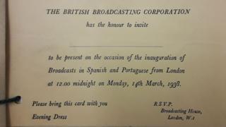 Invitación a la noche de gala en que se inauguró el Servicio Latinoamericano de la BBC en 1938
