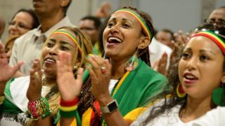 Members of the Ethiopian diaspora, cheer remarks by Ethiopia's Prime Minister Abiy Ahmed in Washington, US - Saturday 28 July 2018