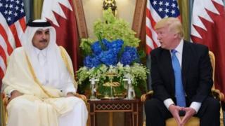 Shugaban Amurka Donald Trump da Sarki Tamimi Bin Hamad na Qatar