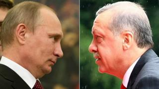 Composite image showing president Putin of Russia (left) and Erdogan of Turkey (right) - December 2015