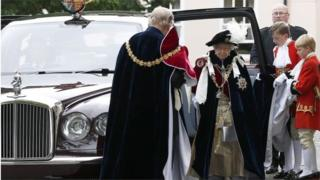 Queen Elizabeth II and Prince Philip arrive for the Order of The Garter Service at Windsor Castle