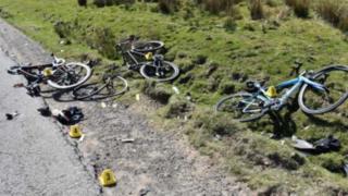 Bikes after mountain crash