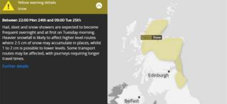 Weather warning - Yellow warning for snow from 22:00 Monday 24th to 09:00 Tuesday 25th