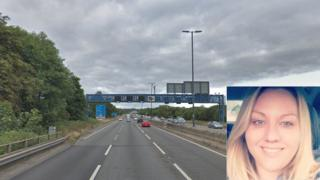 The M4 with an inset pic of Georgina Coombs