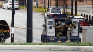 استقرار پلیس در اطراف محوطه دانشگاه اوهایو که یکی از بزرگترین دانشگاه های این کشور است