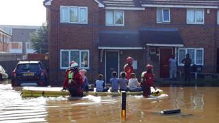 Boat rescuing children