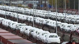 VW cars awaiting transport