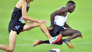 """Conseslus Kipruto (R) of Kenya is on his way to win the men""""s 3,000m Steeplechase race during the Weltklasse IAAF Diamond League international athletics meeting in Zurich"""