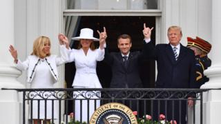 特朗普总统在白宫为马克龙举行欢迎仪式