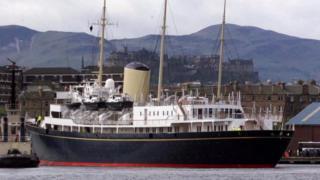 Royal Yacht Britannia berthed at Leith