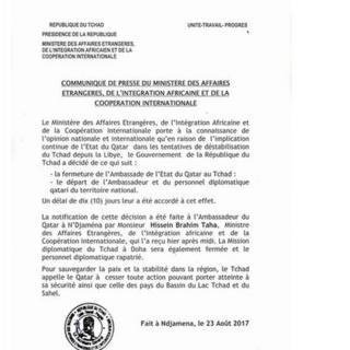 Dans un communiqué du ministère des Affaires Etrangères Ndjamena accuse Doha d'être impliqué dans les tentatives de déstabilisation du Tchad depuis la Libye.