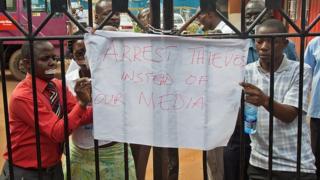 Wanahabari wakiandamana Uganda Mei 2013
