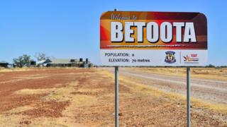 A sign outside the small Australian town of Betoota, which has a population of zero