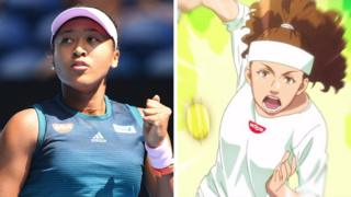 An photo of Naomi Osaka next to the cartoon version